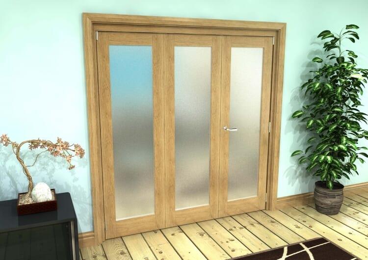 Frosted Glazed Oak Prefinished 3 Door Roomfold Grande (2 + 1 X 610mm Doors) Image