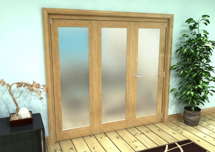 Frosted Glazed Oak Prefinished 3 Door Roomfold Grande (2 + 1 X 762mm Doors) Image