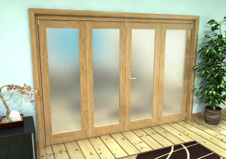 Frosted Glazed Oak Prefinished 4 Door Roomfold Grande (2 + 2 X 762mm Doors) Image