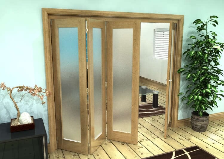 Frosted Glazed Oak Prefinished 4 Door Roomfold Grande (3 + 1 X 610mm Doors) Image