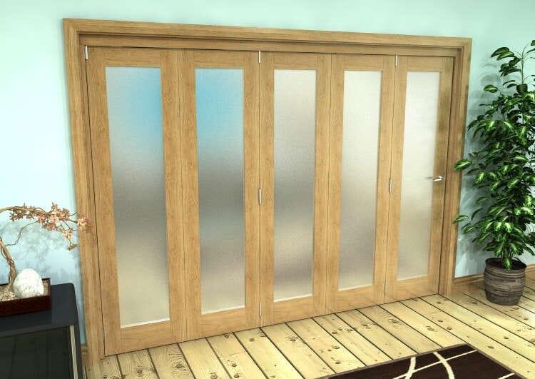 Frosted Glazed Oak Prefinished 5 Door Roomfold Grande (5 + 0 X 533mm Doors) Image
