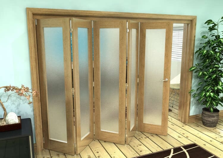 Frosted Glazed Oak Prefinished 5 Door Roomfold Grande (5 + 0 X 610mm Doors) Image