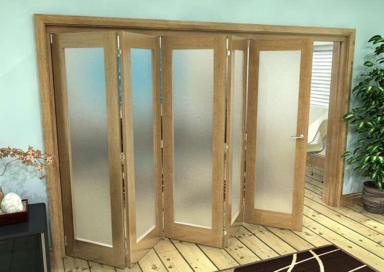 Frosted Glazed Oak Prefinished 5 Door Roomfold Grande (5 + 0 X 686mm Doors) Image