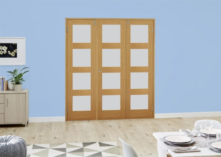 Frosted Glazed Oak Unfinished 4l 3 Door Shaker Frenchfold (3 X 1