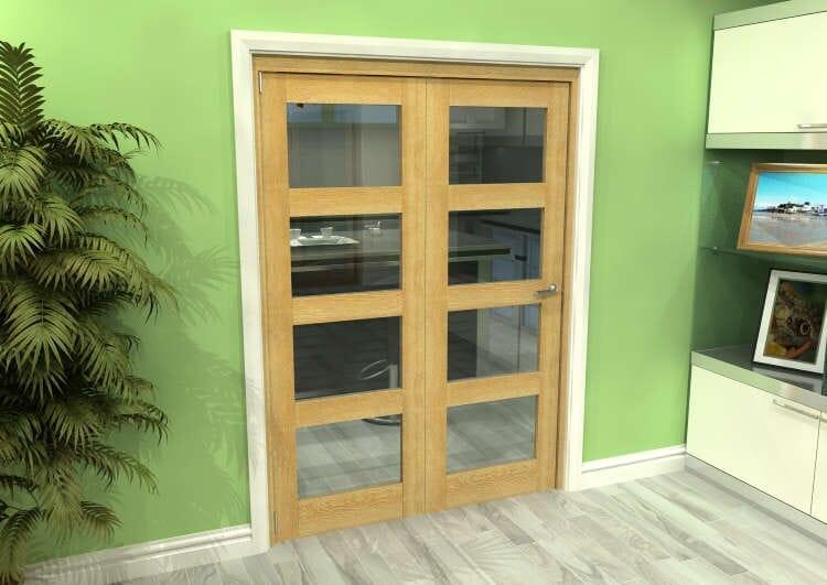 Glazed Oak 2 Door 4l Roomfold Grande (2 + 0 X 686mm Doors) Image