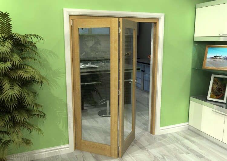 Glazed Oak 2 Door Roomfold Grande (2 + 0 X 686mm Doors) Image