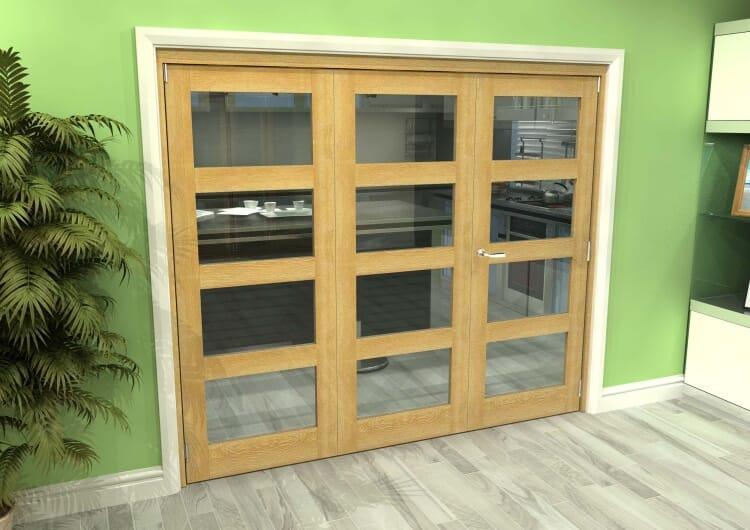 Glazed Oak 3 Door 4l Roomfold Grande (2 + 1 X 762mm Doors) Image