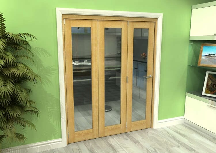 Glazed Oak 3 Door Roomfold Grande (3 + 0 X 533mm Doors) Image
