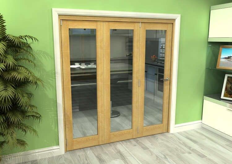 Glazed Oak 3 Door Roomfold Grande (3 + 0 X 610mm Doors) Image