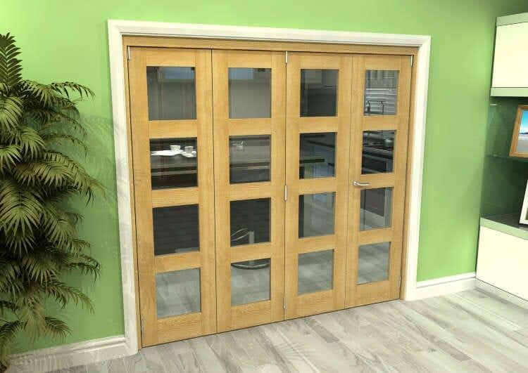 Glazed Oak 4 Door 4l Roomfold Grande (3 + 1 X 533mm Doors) Image