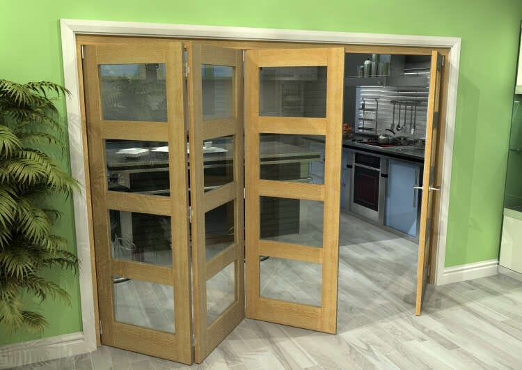 Glazed Oak 4 Door 4l Roomfold Grande (3 + 1 X 686mm Doors) Image