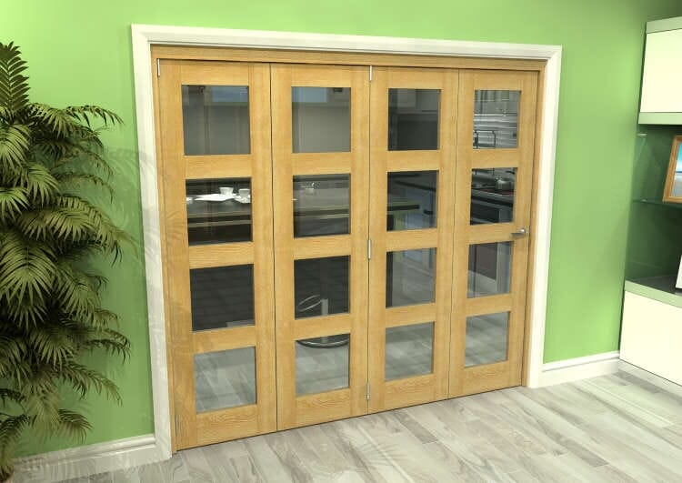 Glazed Oak 4 Door 4l Roomfold Grande (4 + 0 X 533mm Doors) Image