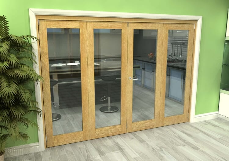 Glazed Oak 4 Door Roomfold Grande (2 + 2 X 762mm Doors) Image