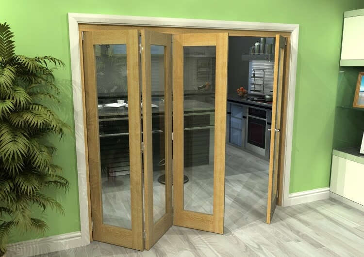 Glazed Oak 4 Door Roomfold Grande 2400mm (8ft) 3 + 1 Set Image