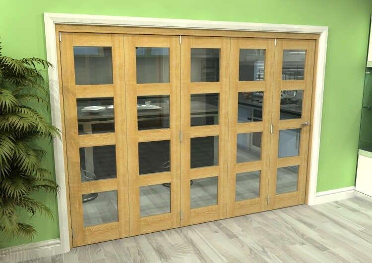 Glazed Oak 5 Door 4l Roomfold Grande 3000mm (10ft) 5 + 0 Set Image