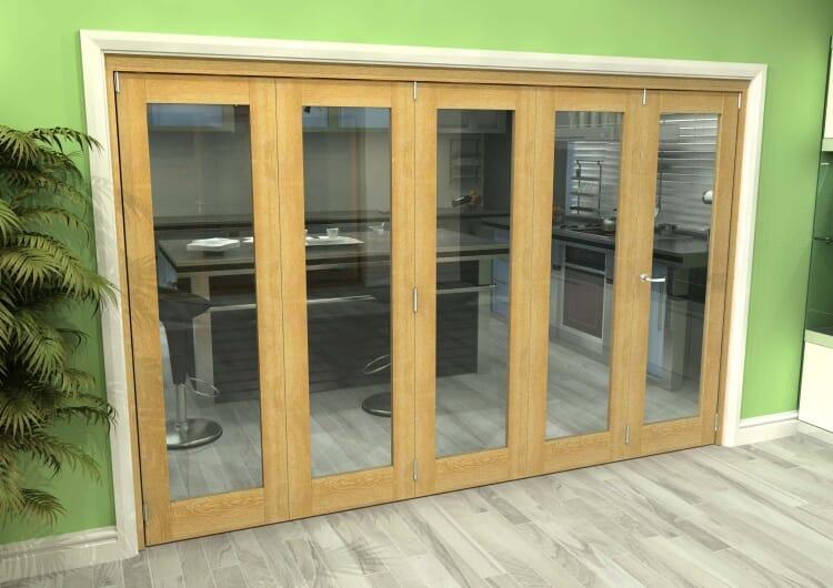 Glazed Oak 5 Door Roomfold Grande 3000mm (10ft) 4 + 1 Set Image