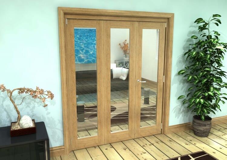 Glazed Oak Prefinished 3 Door Roomfold Grande (2 + 1 X 610mm Doors) Image