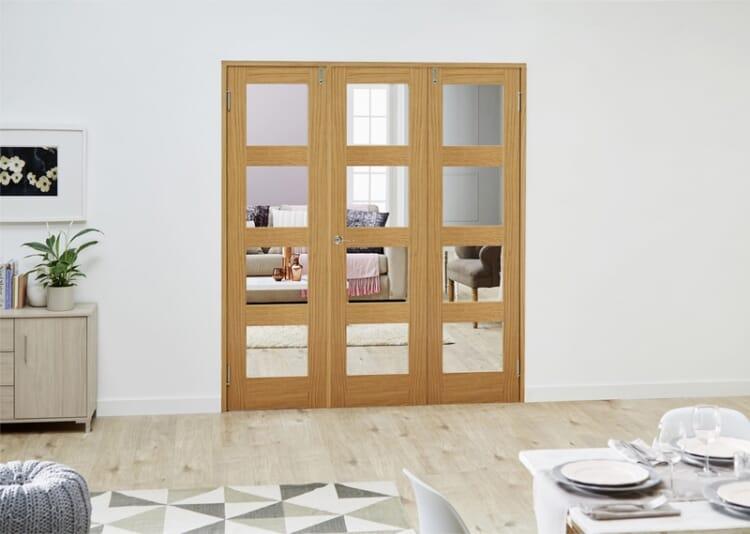 Glazed Oak Prefinished 3 Door Shaker 4l Frenchfold ( 3 X 533mm Doors ) Image