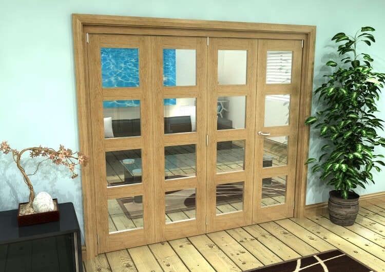 Glazed Oak Prefinished 4 Door 4l Roomfold Grande (3 + 1 X 610mm Doors) Image