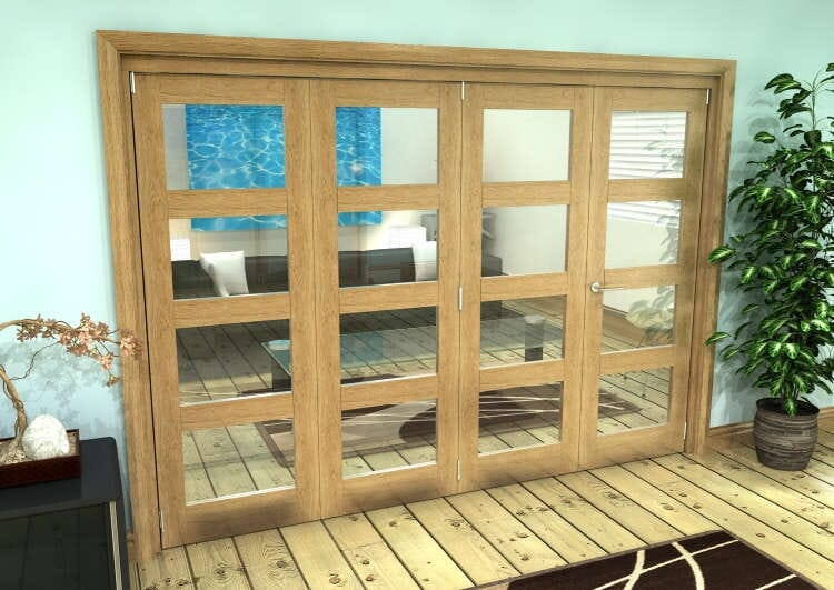 Glazed Oak Prefinished 4 Door 4l Roomfold Grande (3 + 1 X 686mm Doors) Image