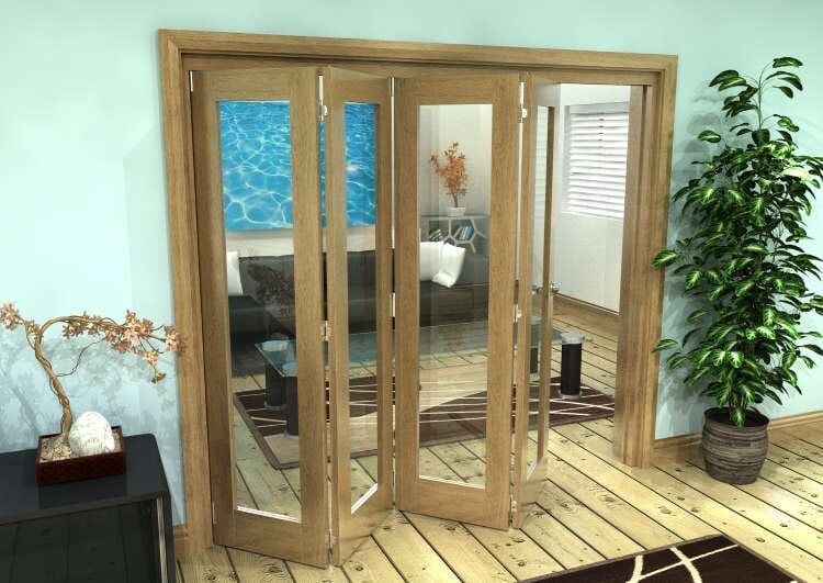 Glazed Oak Prefinished 4 Door Roomfold Grande (4 + 0 X 533mm Doors) Image