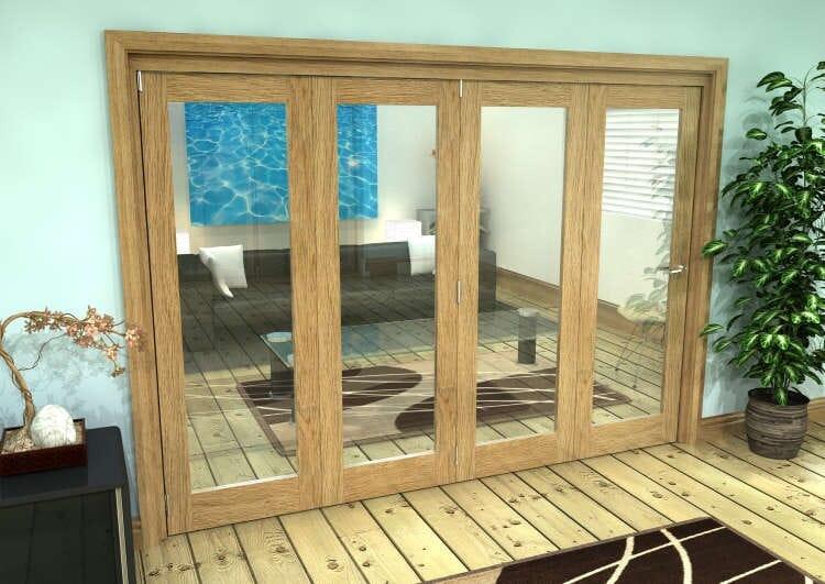 Glazed Oak Prefinished 4 Door Roomfold Grande (4 + 0 X 686mm Doors) Image