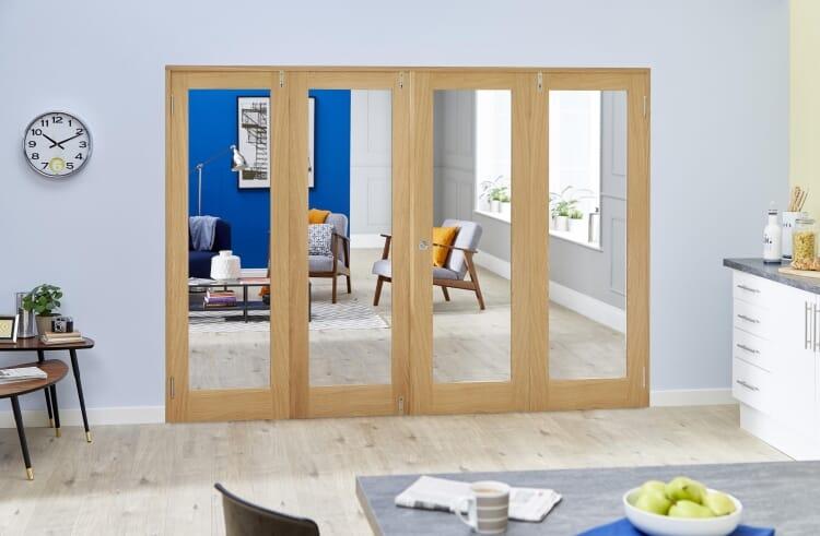 Glazed Oak Prefinished 4 Door Shaker Frenchfold (4 X 686mm Doors) Image