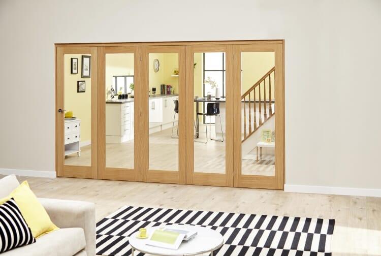 Glazed Oak Prefinished 5 Door Roomfold Deluxe 3000mm (10ft) Set Image