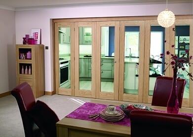 Glazed Oak Prefinished 6 Door Roomfold (3+3 X 2
