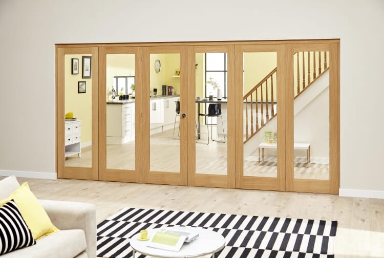 Glazed Oak Prefinished 6 Door Roomfold Deluxe (3+3 X 2