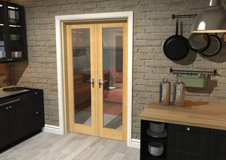 "Oak Prefinished French Door Set  - 24"" Pair Image"
