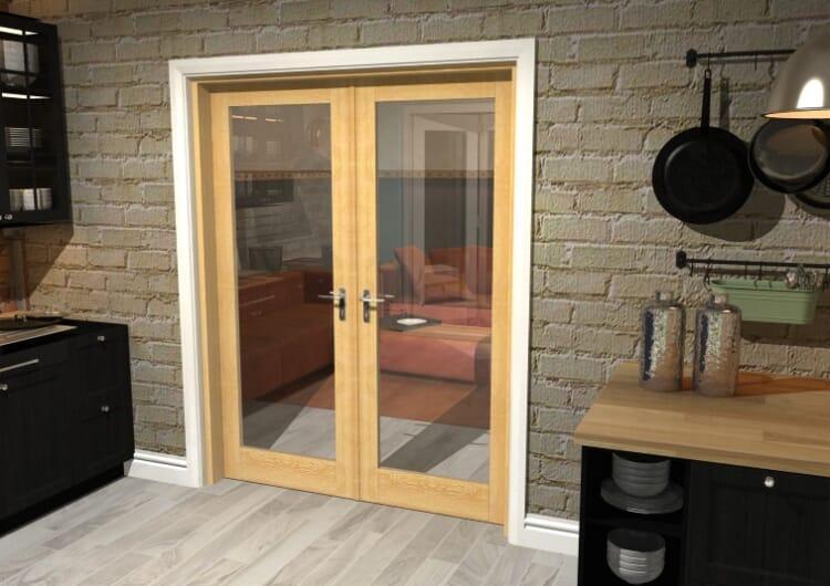 "Oak Prefinished French Door Set  - 30"" Pair Image"