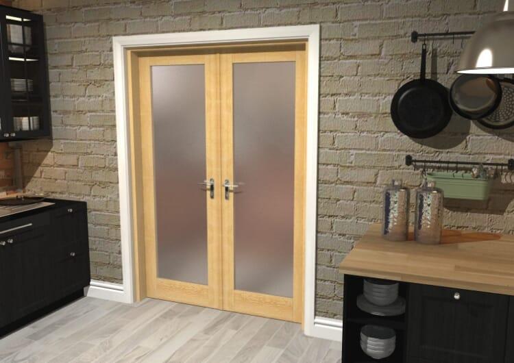 "Obscure Oak French Door Set  - 27"" Pair Image"