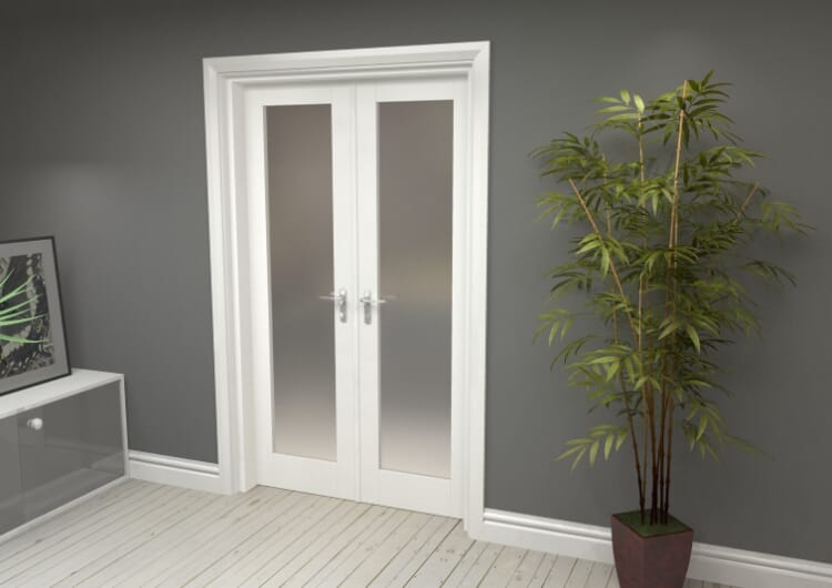 """Obscure White French Door Set  - 21"""" Pair Image"""