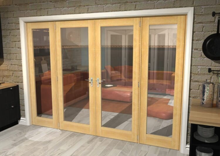 "Oak Prefinished French Door Set - 30"" Pair + 2 X 24"" Sidelights Image"