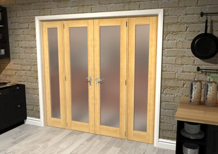 """Obscure Oak French Door Set  - 21"""" Pair + 2 X 16.5"""" Sidelights Image"""