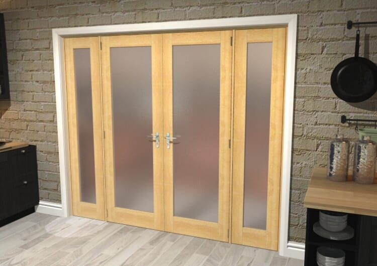 "Obscure Oak French Door Set  - 24"" Pair + 2 X 15"" Sidelights Image"