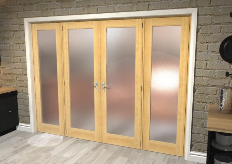 """Obscure Oak French Door Set  - 24"""" Pair + 2 X 18"""" Sidelights Image"""