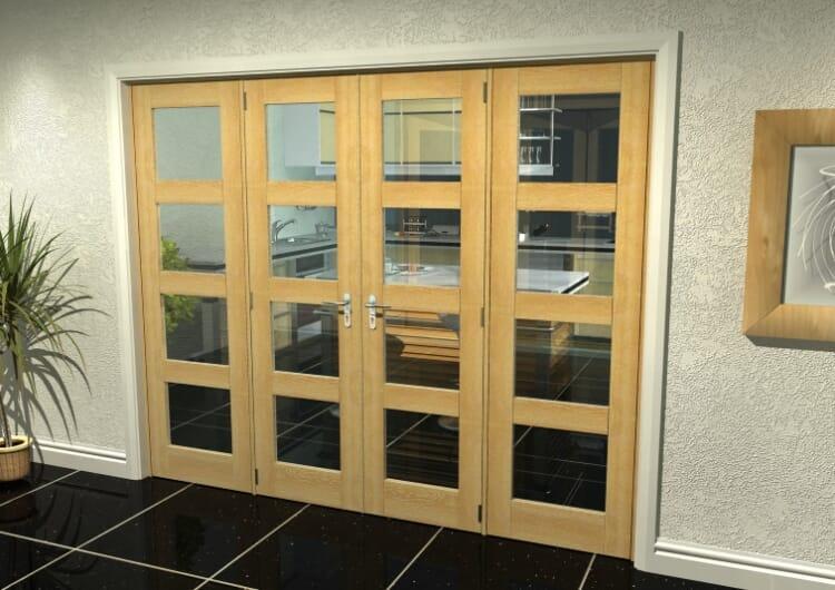"Oak 4l French Door Set  - 24"" Pair + 2 X 16.5"" Sidelights Image"
