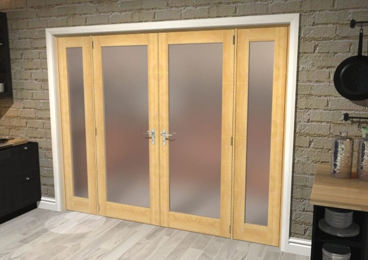 "Obscure Oak French Door Set  - 27"" Pair + 2 X 15"" Sidelights Image"