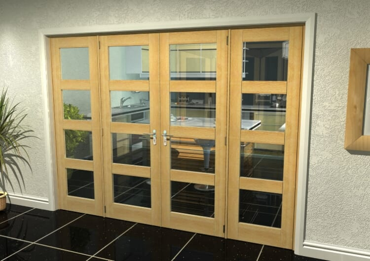 "Oak 4l French Door Set - 27"" Pair + 2 X 21"" Sidelights Image"