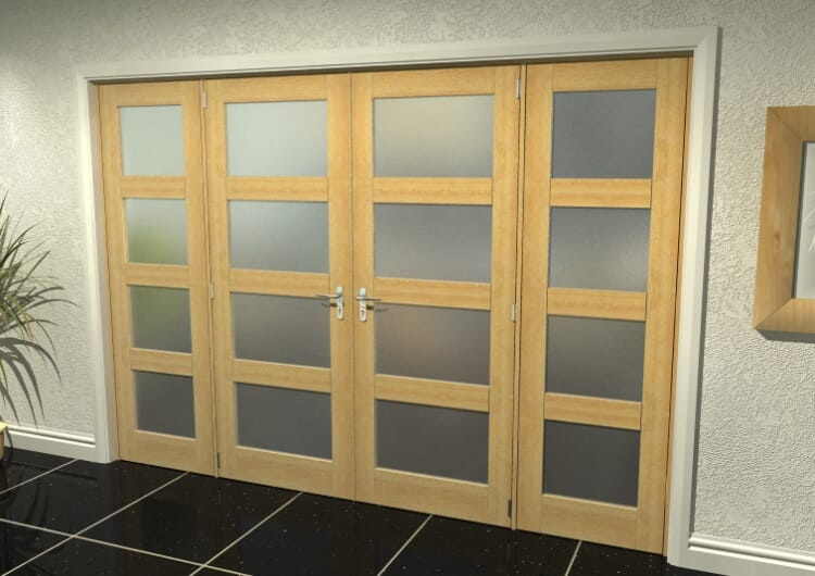 """4l Frosted Oak French Door Set - 30"""" Pair + 2 X 22.5"""" Sidelights Image"""