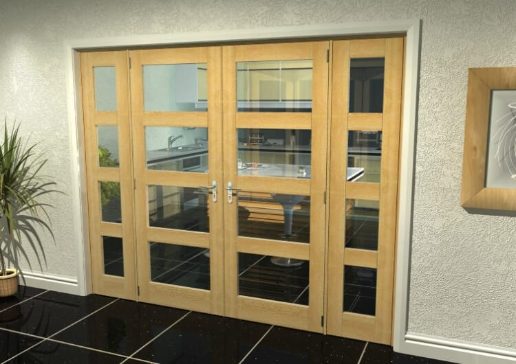 "Oak 4l French Door Set  - 22.5"" Pair + 2 X 16.5"" Sidelights Image"