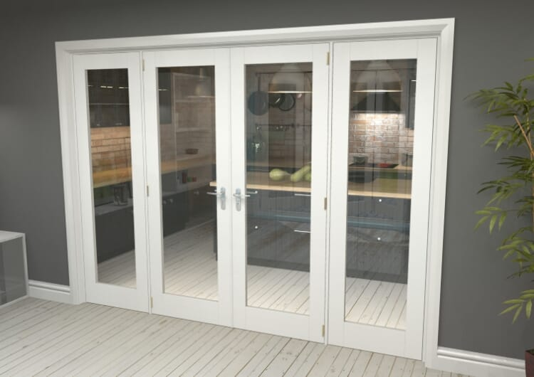 """P10 White French Door Set  - 24"""" Pair + 2 X 18"""" Sidelights Image"""