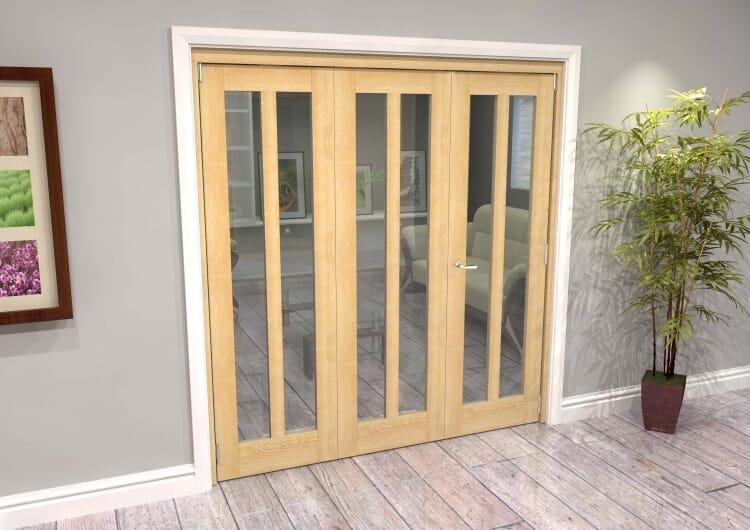 Oak Aston Glazed 3 Door Roomfold Grande (2 + 1 X 610mm Doors) Image