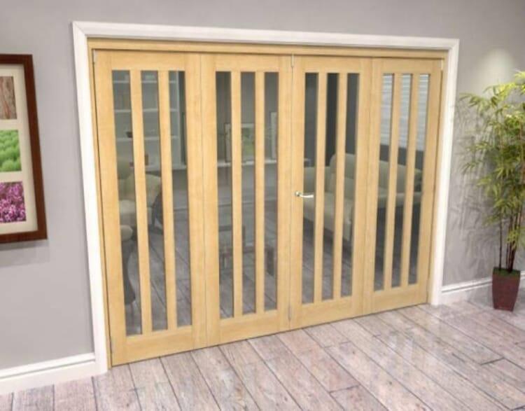 Oak Aston Glazed 4 Door Roomfold Grande (2 + 2 X 686mm Doors) Image