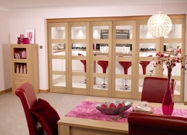 Oak Prefinished 4 Light Bifold Door (5+1 X 2