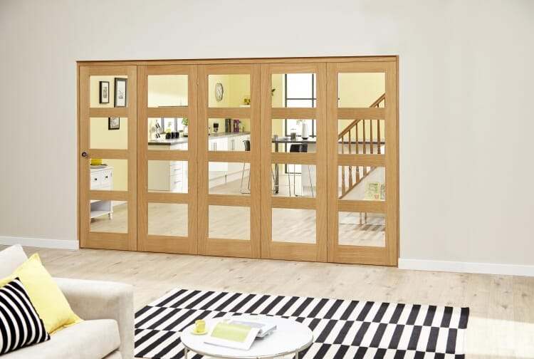 Oak Prefinished 4l Roomfold Deluxe ( 5 X 762mm Doors) Image