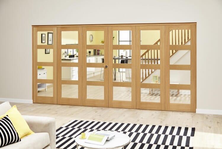 Oak Prefinished 4l Roomfold Deluxe (3 + 3 X 610mm Doors) Image