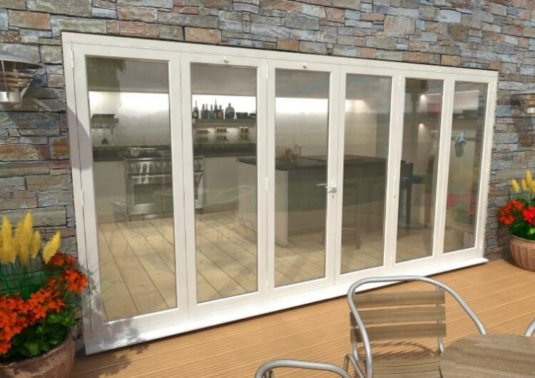 Part Q 4200mm ( 3 + 3 ) White Aluminium Bifold Doors - Climadoor Image